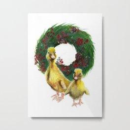 Baby Ducks Christmas Metal Print