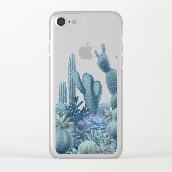 Milagritos Cacti on Rose Quartz Background Clear iPhone Case