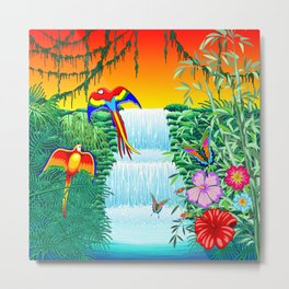 Waterfall Macaws and Butterflies on Exotic Landscape in the Jungle Naif Style Metal Print