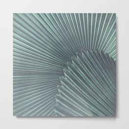 Tropical Palm Leaf Matte Teal Metal Print