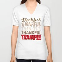 thanksgiving V-neck T-shirts featuring Thanksgiving, Black Friday by Chris Piascik