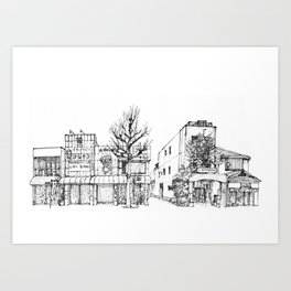 Urban space - Row of shops #1 Art Print