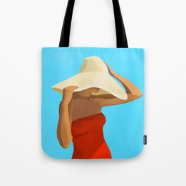 At The Beach: Red Suit Tote Bag