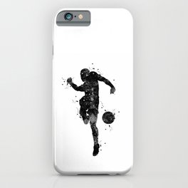 Soccer Boy Football Player Black Silhouette iPhone Case