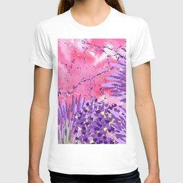 Modern violet lime green lavender pink marble floral T-shirt
