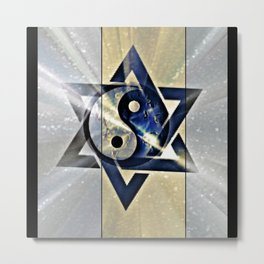 Jewish Yin Yang Metal Print