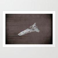 battlestar galactica Art Prints featuring Battlestar Galactica BSG minimalist Viper by depdesigns