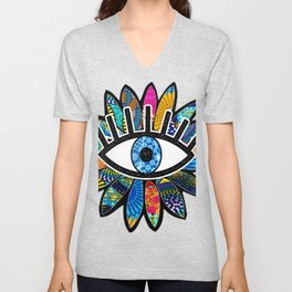 Greek Evil Eye Blue Flower Unisex V-Neck