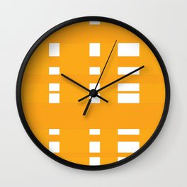 orange plaid Wall Clock