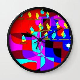 Community Chanukah Menorah Lights Wall Clock