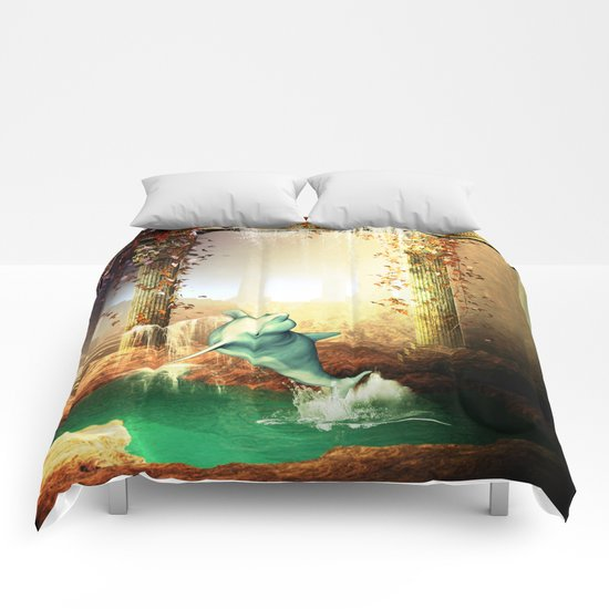 Funny dolphin Comforters