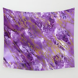 Amethyst Quartz and gold texture Wall Tapestry