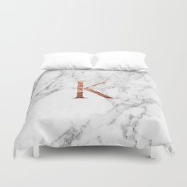 Monogram rose gold marble K Duvet Cover
