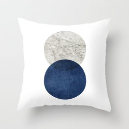 Marble blue navy circle Throw Pillow