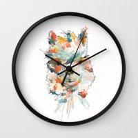 alpaca Wall Clocks featuring + Watercolor Alpaca + by BANBAN