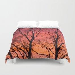 Tree Silhouttes Against The Sunset Sky #decor #society6 #homedecor Duvet Cover