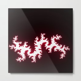 Red and White Fractal w/Black Background Metal Print