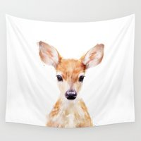 dark Wall Tapestries featuring Little Deer by Amy Hamilton