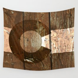 Rustic brown wooden Colorado flag Wall Tapestry