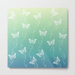 Light Blue and Green Butterflies Pattern Metal Print
