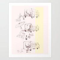 truck Art Prints featuring truck by Michelle Wang