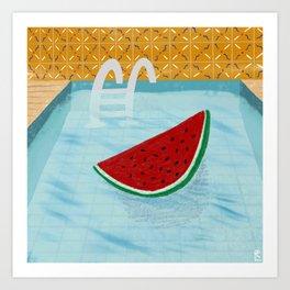 Watermelon in the pool Art Print