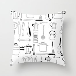 Kitchen essentials in black and white Throw Pillow