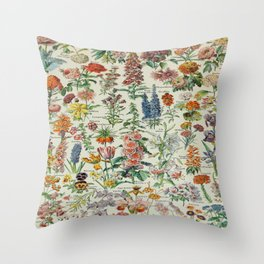 Flowers Vintage Scientific Illustration French Language Encyclopedia Lithographs Educational Throw Pillow