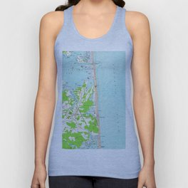 Vintage Map of Bethany Beach Delaware (1954) Unisex Tank Top