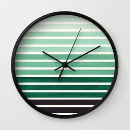 Deep Green Mid Century Modern Minimalist Scandinavian Colorful Stripes Geometric Pattern Round Circl Wall Clock