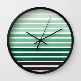 Deep Green Mid Century Modern Minimalist Scandinavian Colorful Stripes Geometric Pattern Round Circl Wall Clock