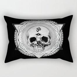 Life Touches The Seeker Ajna Skull Mandala Geometric Triangle Black Rectangular Pillow