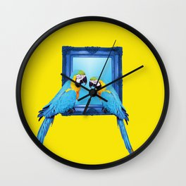 Macaw Bird sitting on frame yellow Wall Clock