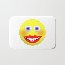 Smiley Female With Big Smiling Mouth Bath Mat