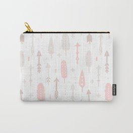 Bohemian blush pink brown feathers arrows pattern Carry-All Pouch