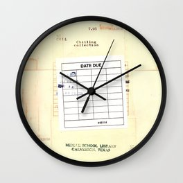 Library Book Date Due Card Wall Clock