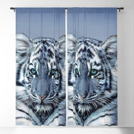 Blue White Tiger Blackout Curtain