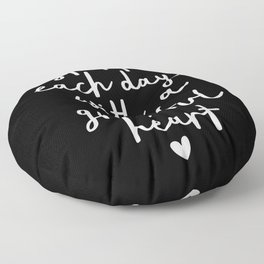 Start Each Day With a Grateful Heart black-white typography poster design modern wall art home decor Floor Pillow