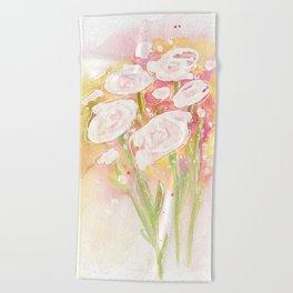 white flower bouquet Beach Towel