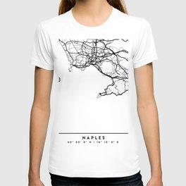 NAPLES ITALY BLACK CITY STREET MAP ART T-shirt