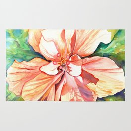 Double Peach Tropical Hibiscus Rug
