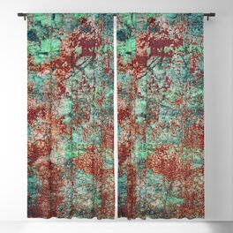 Abstract Rust on Turquoise Painting Blackout Curtain