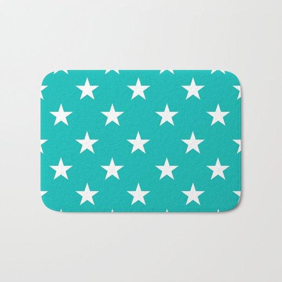 Stars (White/Tiffany Blue) Bath Mat