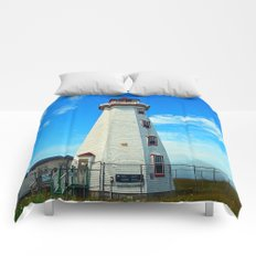 North Cape Lighthouse window wall Comforters