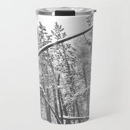 Forest Snowfall // Winter Tree Black and White Landscape Photography Backwoods Woodlands Woods Travel Mug