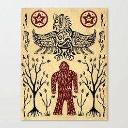 The Legend (Thunderbird Makes The Hairy Man Hide Himself) Canvas Print