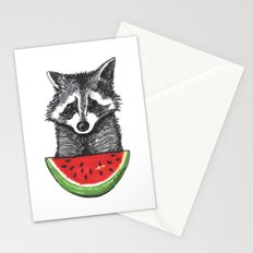 Racoon and watermelon Stationery Cards