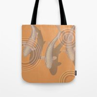 trout Tote Bags featuring Rainbow Trout by Great Gray Art