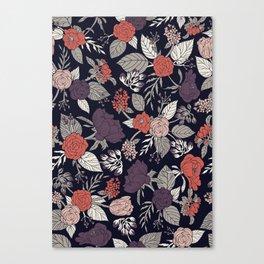 Purple, Gray, Navy Blue & Coral Floral/Botanical Pattern Canvas Print