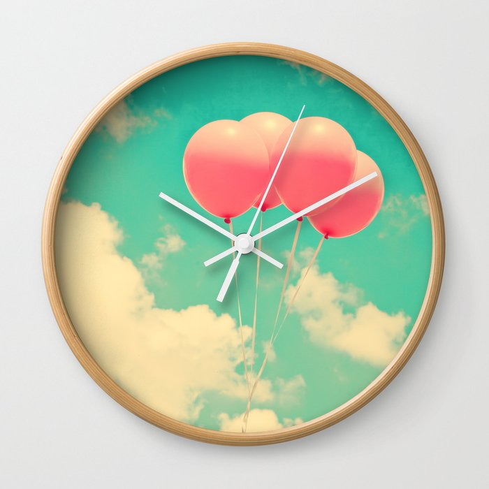 Balloons in the sky (pink ballons in retro blue sky) Wall Clock
